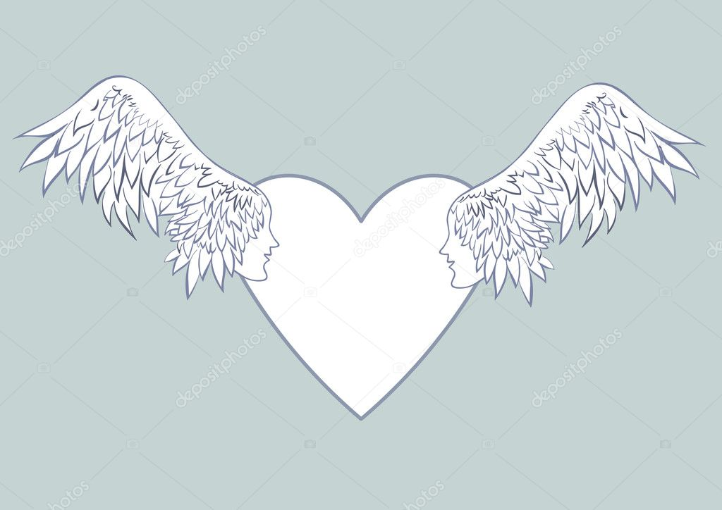 Alas de Ángel con rostro humano en el marco en forma de un corazón ...