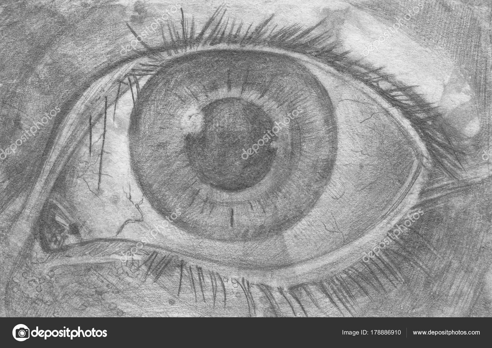 Eyes pencil sketch of eyes stock photo