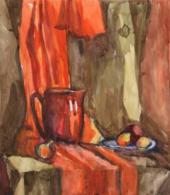 Watercolor still life with pitcher and fruit on a background of orange draping.