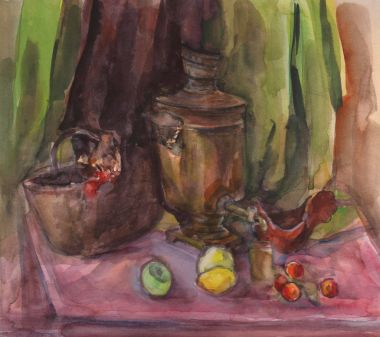Watercolor still life in Russian style. still life painting large Russian teapot and cup of tea.