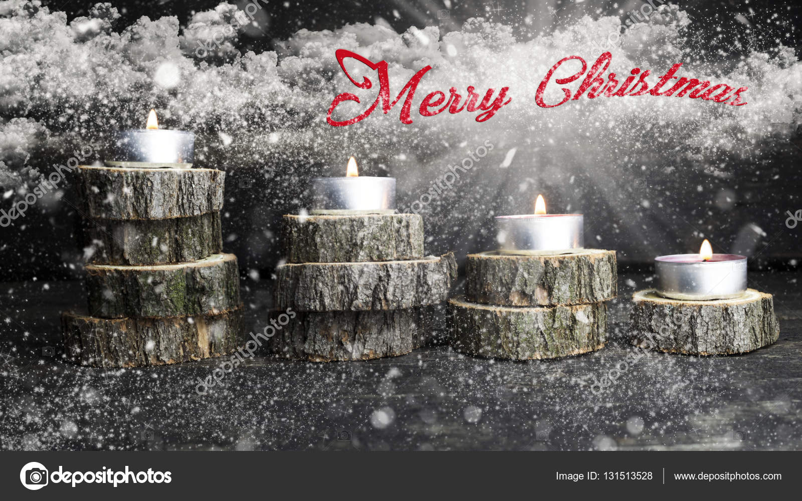 Merry Christmas Candles Burning Decoration On Wooden Logs Resting Rustic Background