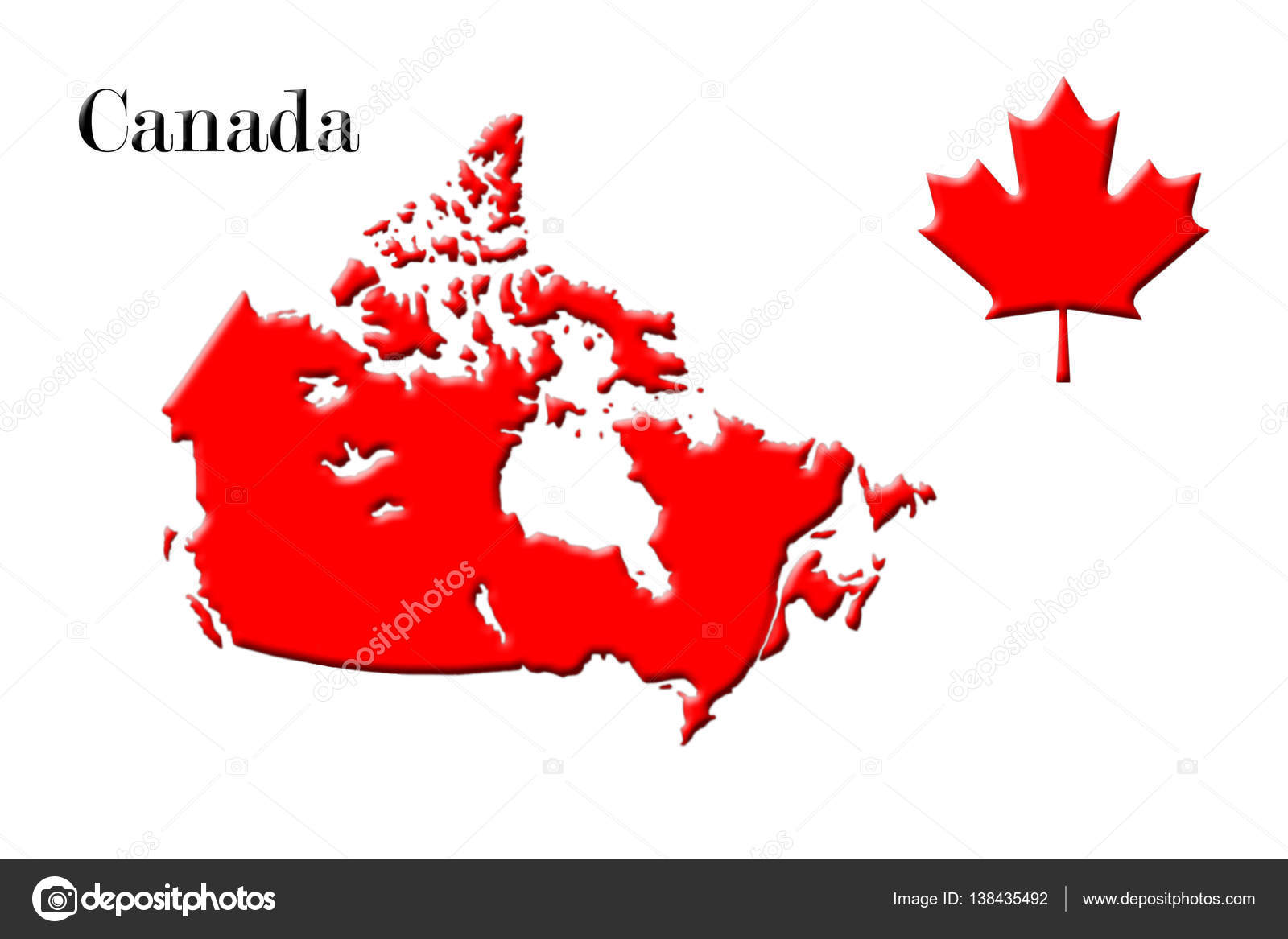 Canada Map Flag.Canadian Map With Flag On It 3d Rendering Stock Photo