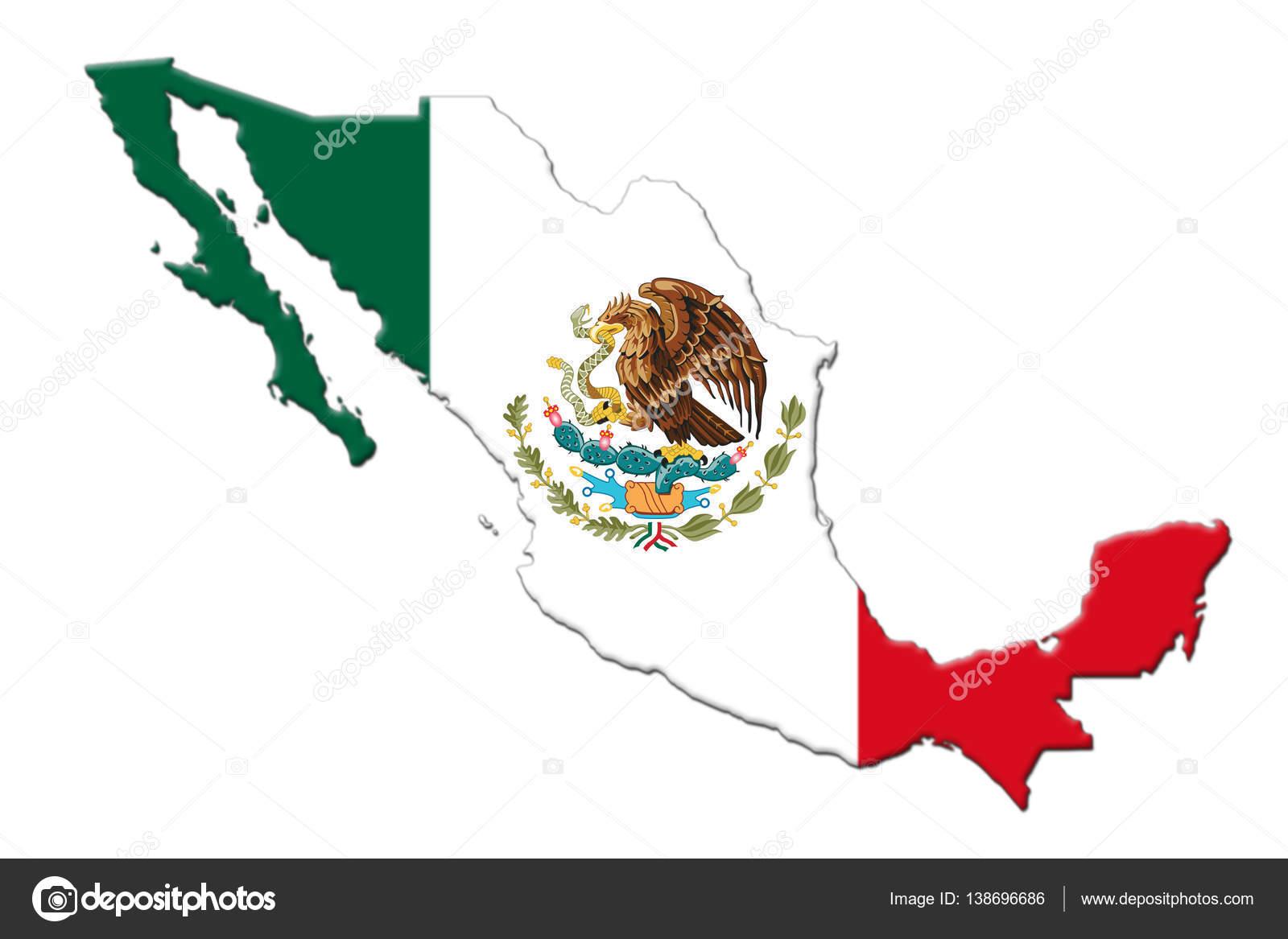 Bandera Nacional Mexicana con representación 3d águila escudo y mapa ...