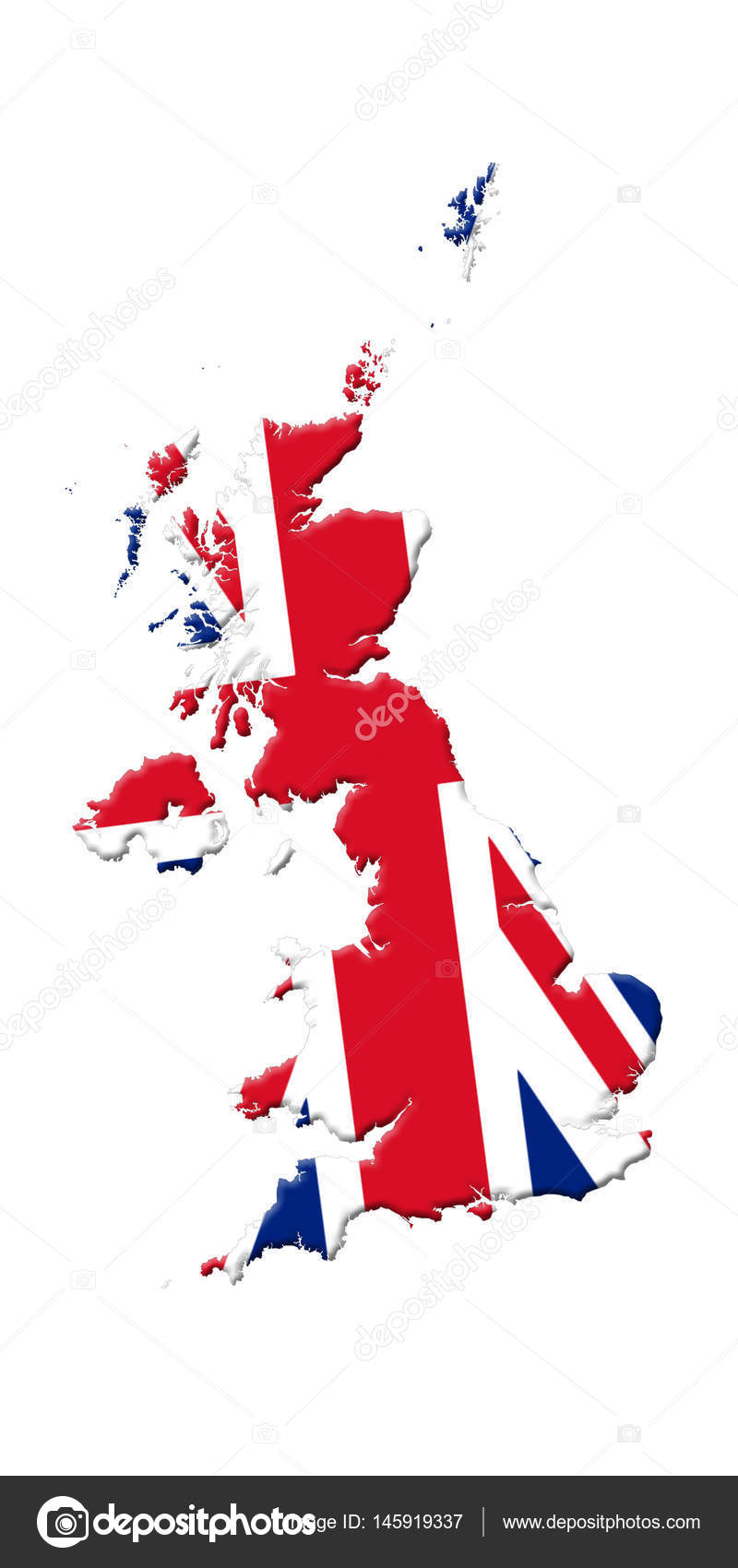 great britain s map with flag on it isolated on white background 3d