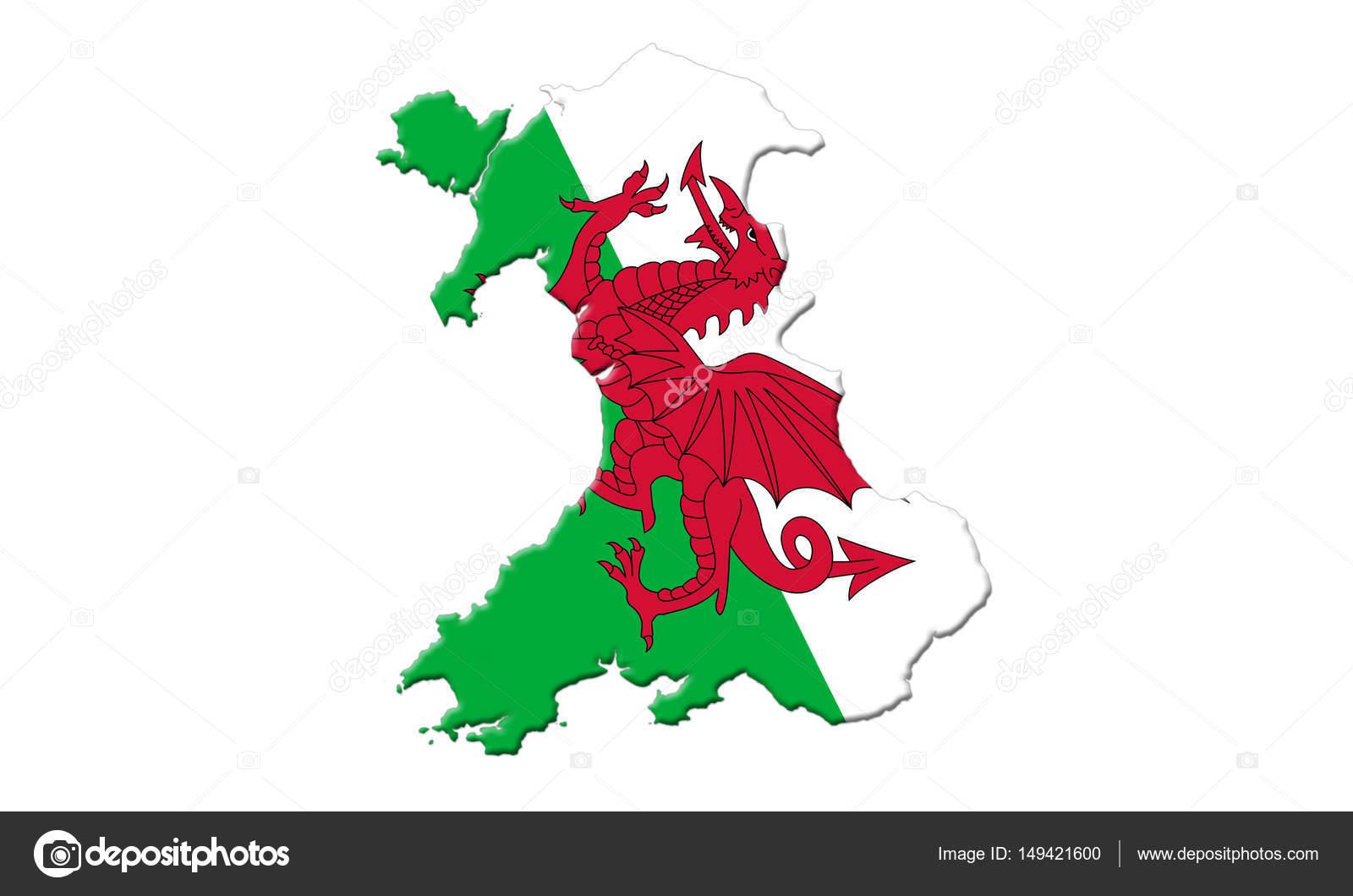 Mapa de Gales con bandera del país en que aisladas sobre fondo ...