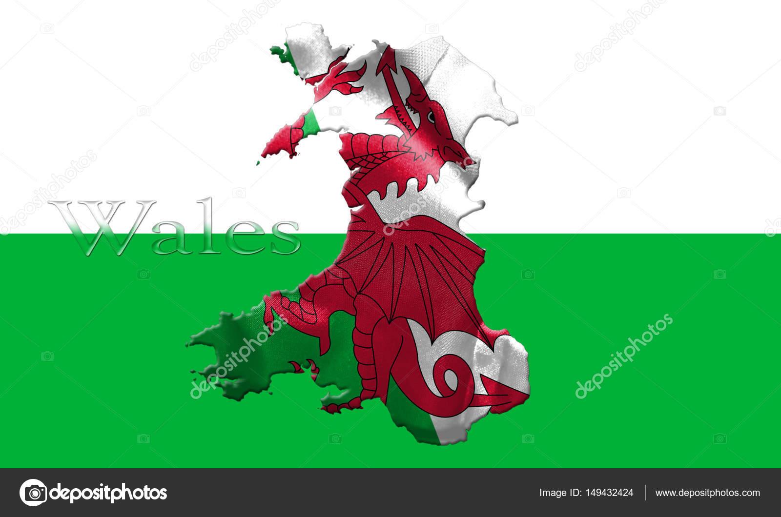 Mapa de Gales con bandera del país en lo aislado en fondo ...