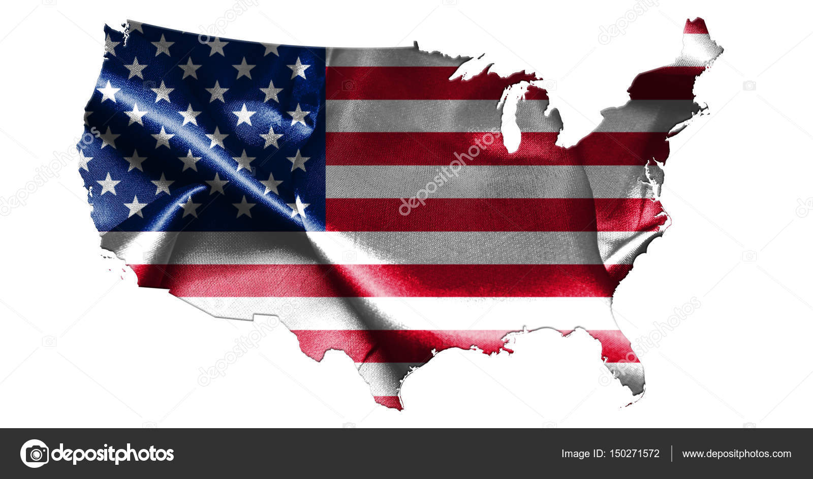 United States Of America Map With American Flag 3d Illustration - American-flag-us-map