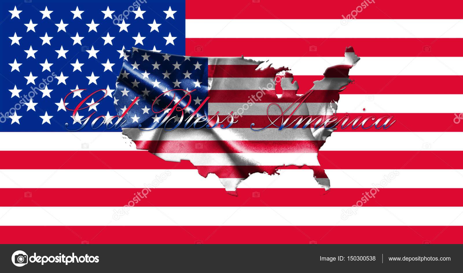 United States of America Map With American Flag 3D illustration ...
