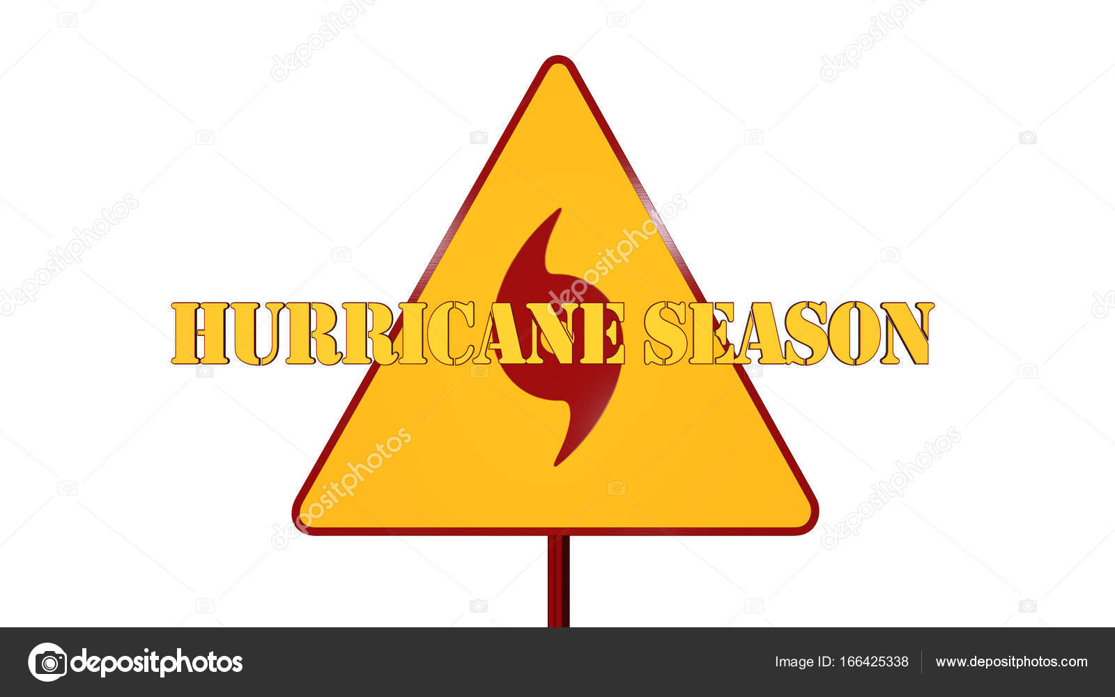 Hurricane Road Sign Isolated On White Background 3d Rendering
