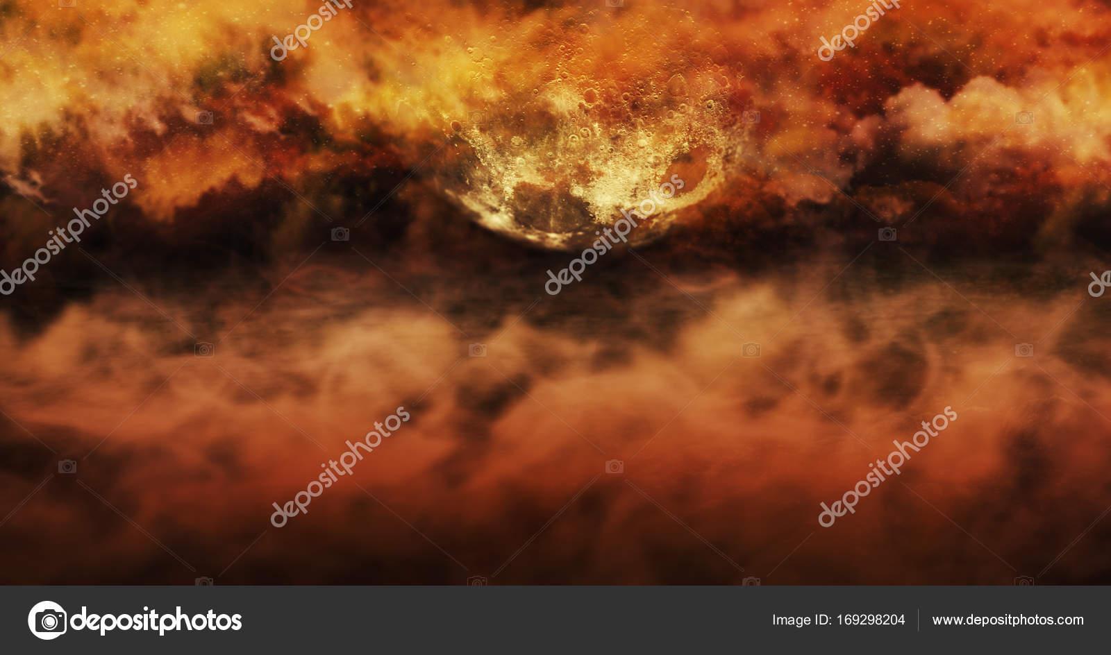 3d Fußboden Wolken ~ Nebel über dem boden und brennenden himmel voller wolken und