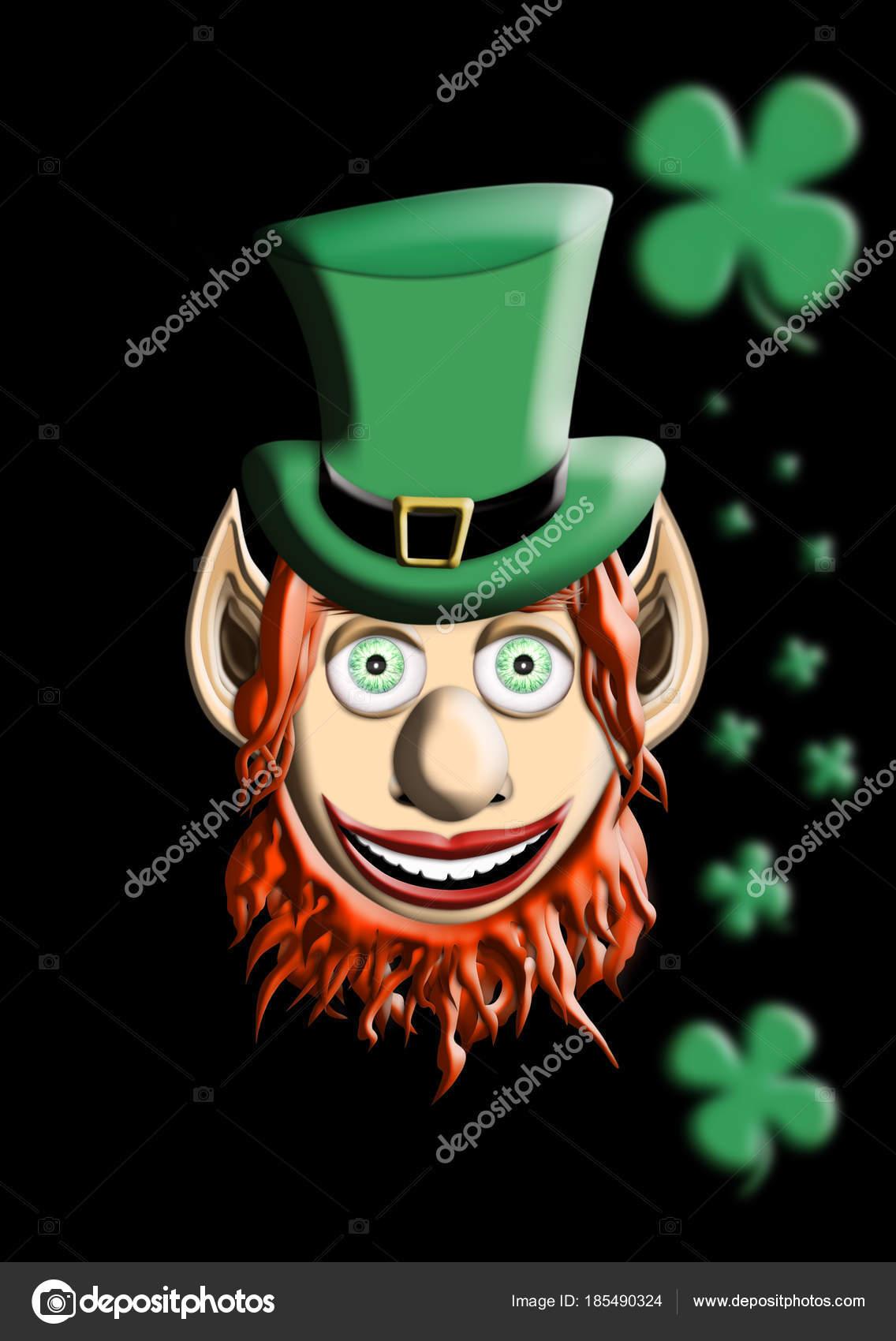 Día de San Patricio. Ilustración 3d de duende con sombrero verde y cuatro  hoja trébol 90ff754b7ae1