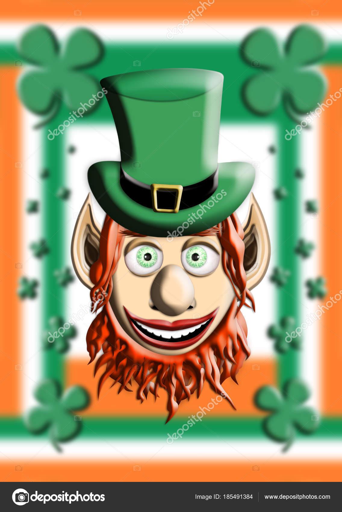 Día de San Patricio. Ilustración 3d de duende con sombrero contra Irlanda  bandera verde y fondo de trébol de cuatro hojas — Foto de alexandarilich85 91544f4f0bcd