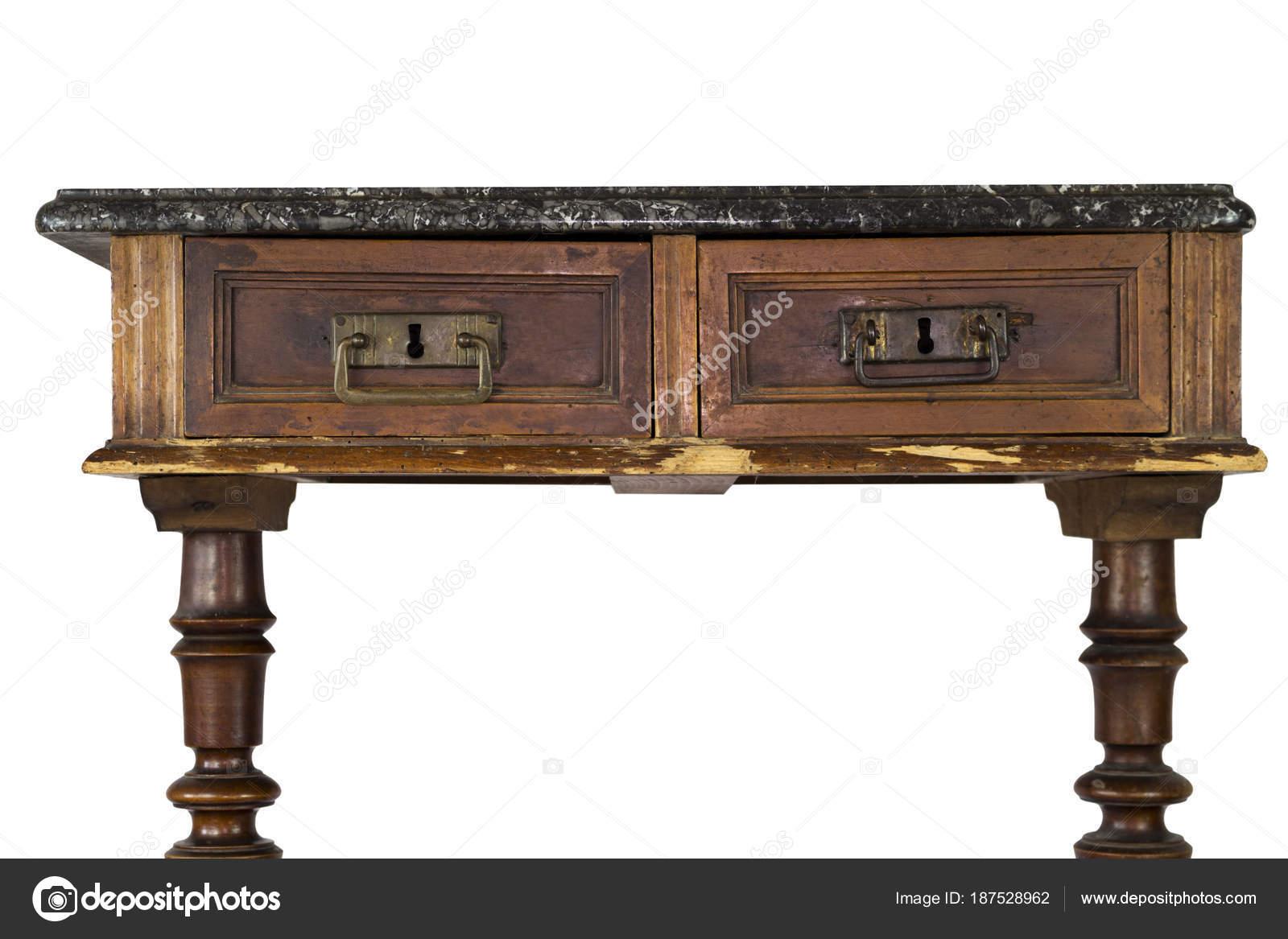 Vintage en marbre bureau en bois avec tiroirs isolée on white