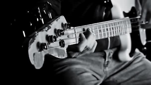 Bass Guitarist Playing Bass Guitar Close Up