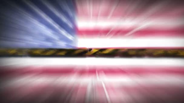Coronavirus COVID-19 járvány. Elhasználódott sárga bioveszély, veszély, figyelmeztető jel az Amerikai Egyesült Államok zászlaja felett. Zárt terület, karantén riadó. Fertőzött zóna lezárása