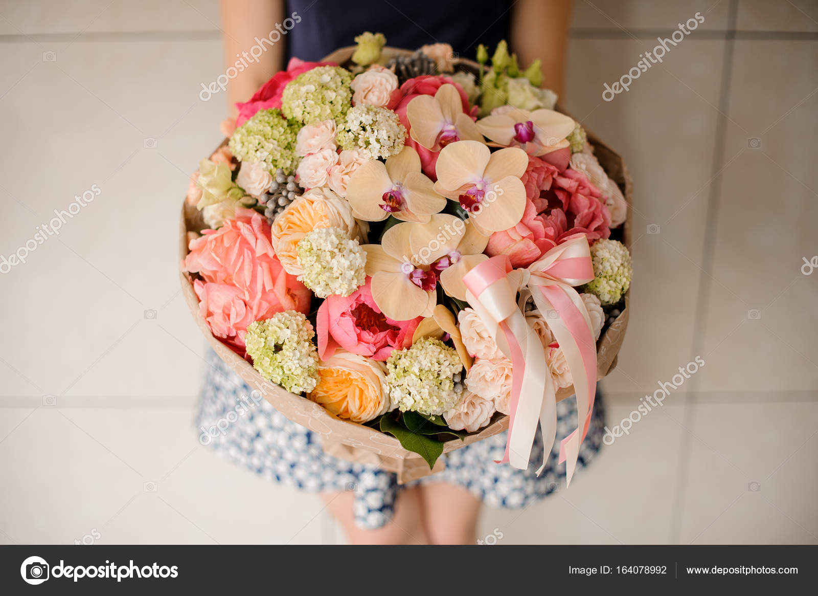 Beautiful Mixed Flower Bouquet Hold By Woman Stock Photo Fesenko