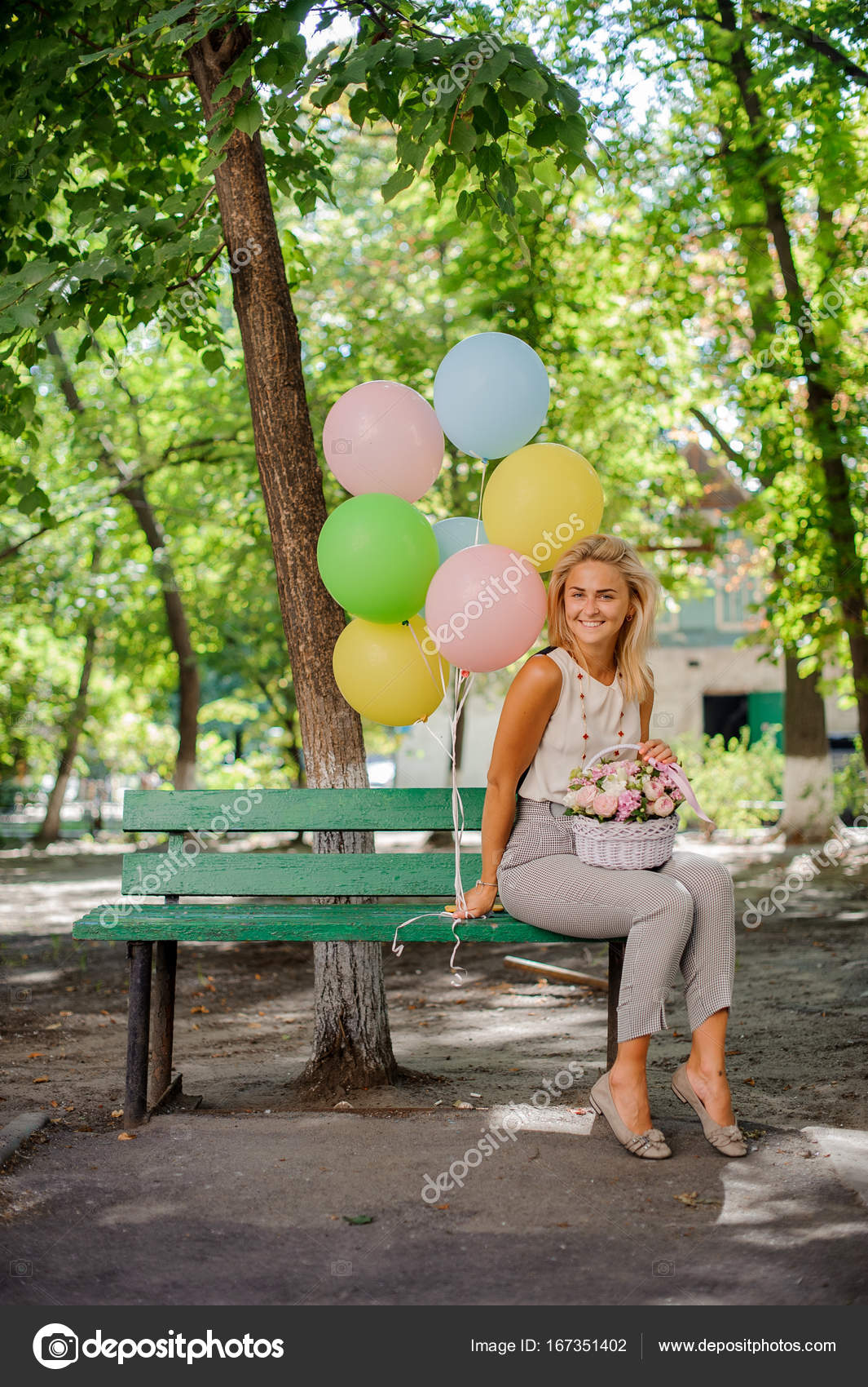 Happy Birthday Girl With Pretty Flowers And Balloons Stock Photo