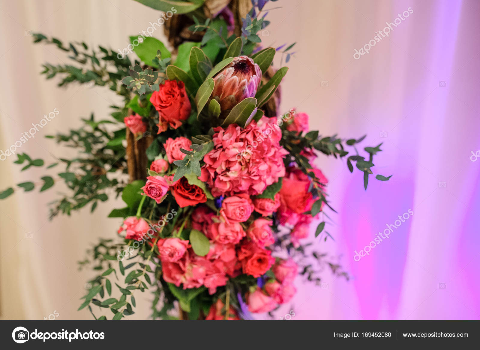 Lovely Pink Flower Composition On The Light Background Stock Photo