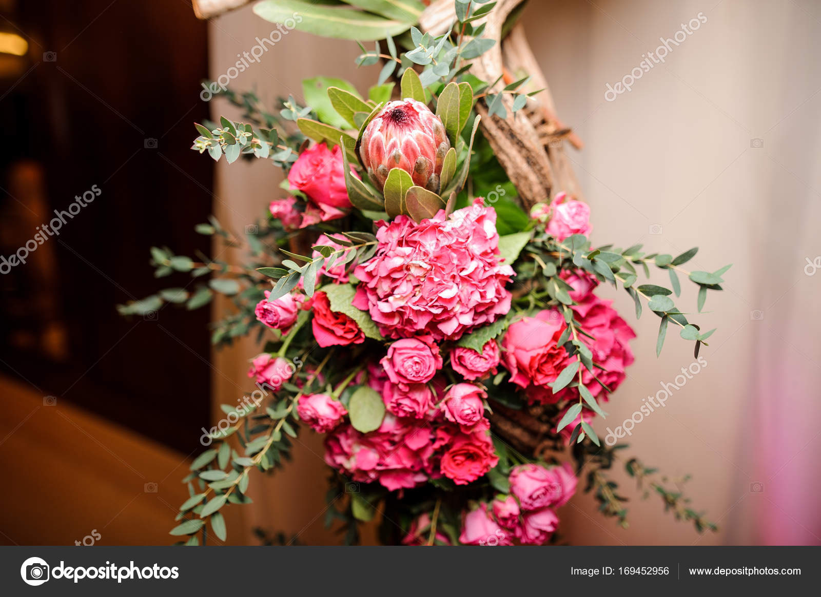 Cute Pink Flower Composition On The Light Background Stock Photo