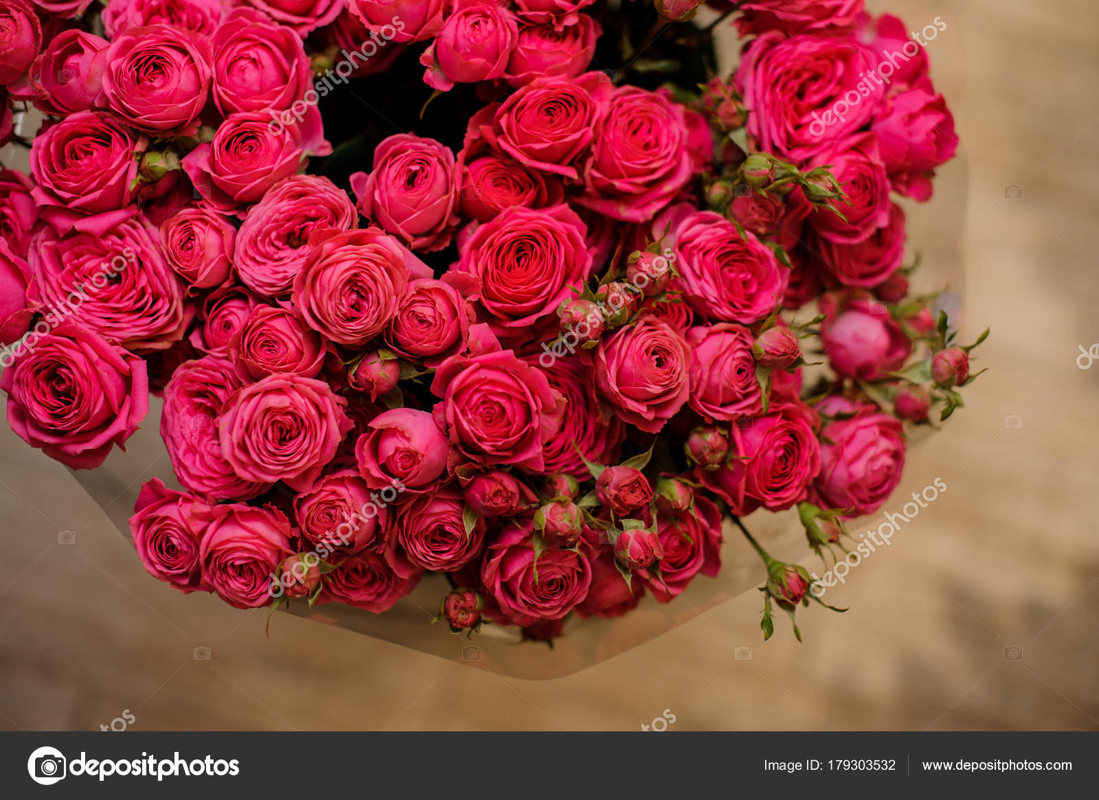 Big Bouquet Of A Lot Of Small Roses Of Pink Color Close Up Stock