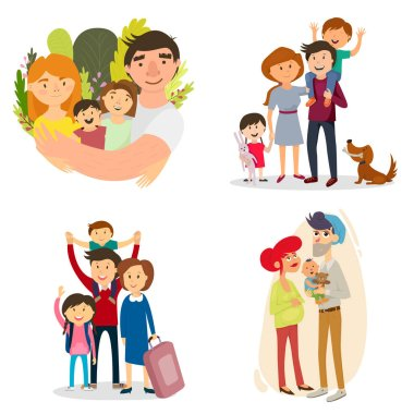 a happy family. set. pregnancy, baby, father, friendship, relationships. vector