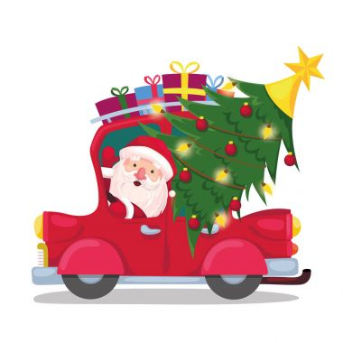 santa claus with a tree and gifts goes on a red car. Christmas, new year, holiday, vacation. vector