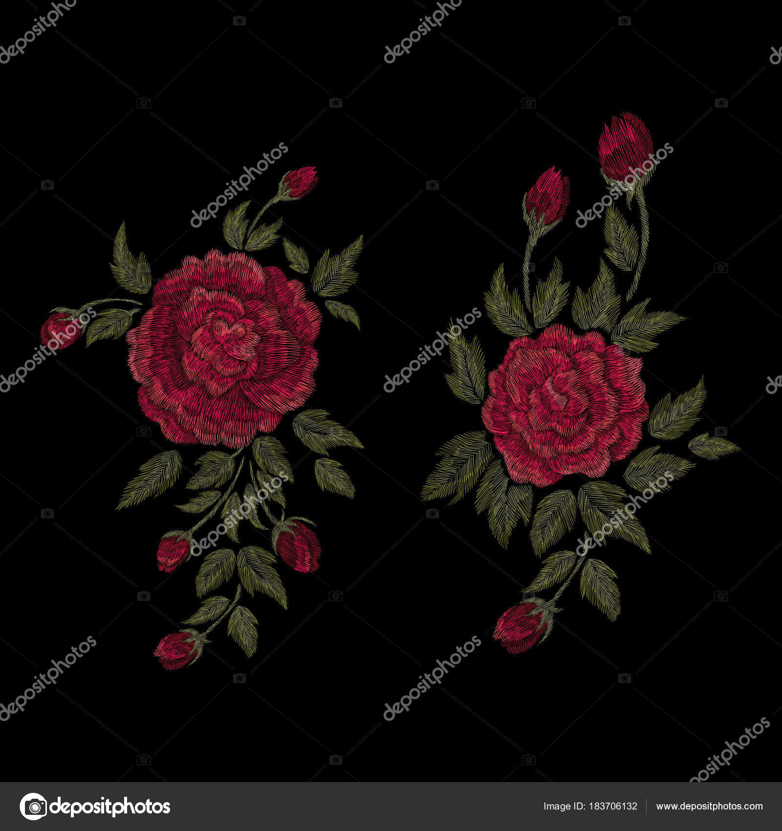 Traditional Folk Flower Fashionable Embroidery Black Background ...