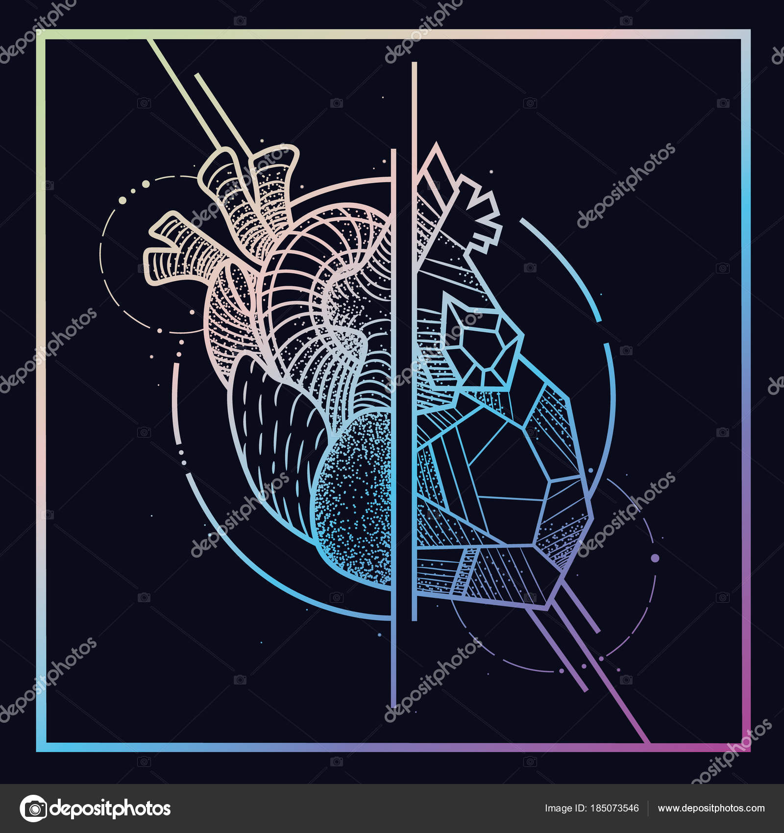 Heart Brain All Seeing Eye Style Engraving Polygonal Sketch