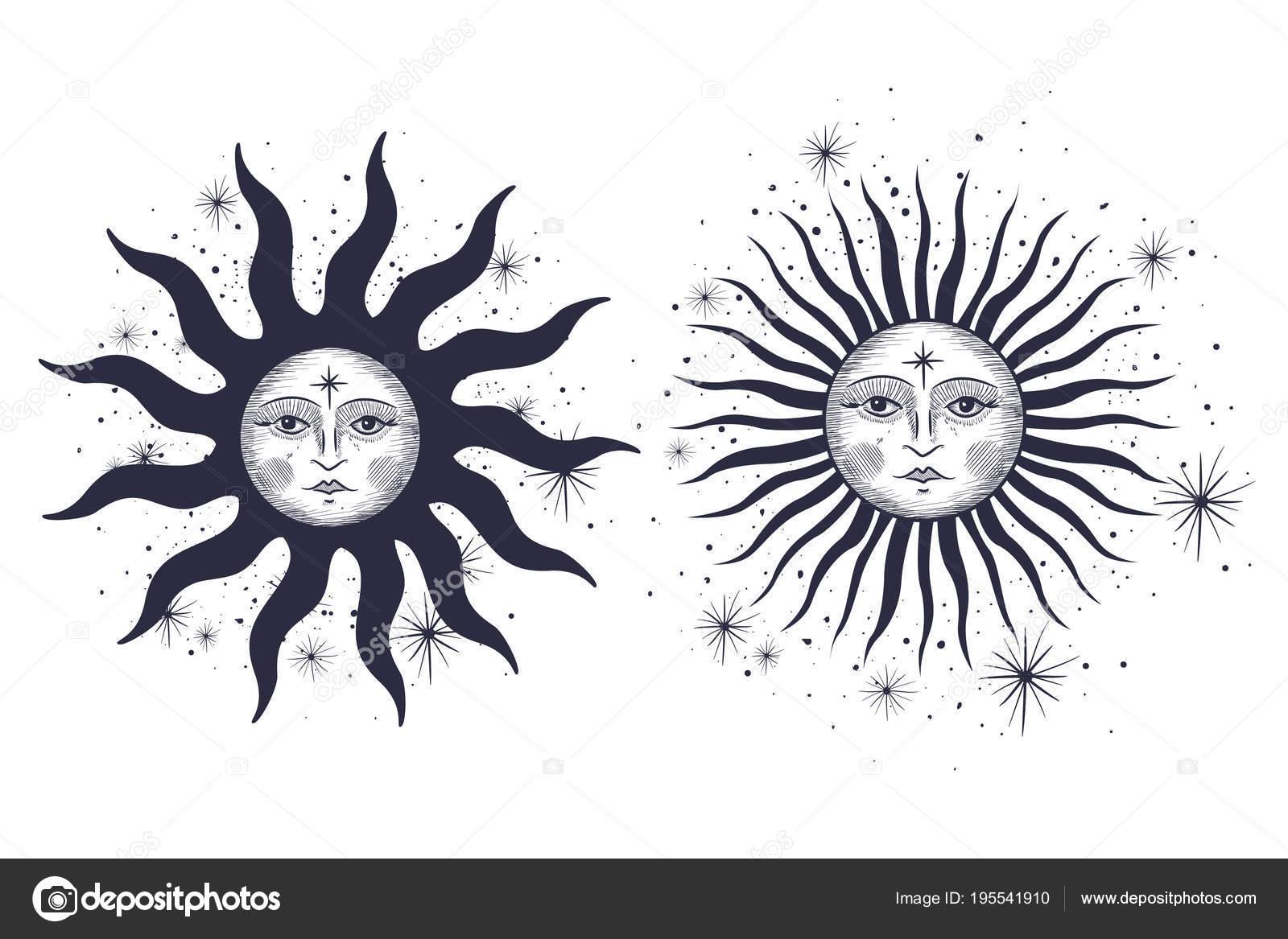Sun And Moon Designs Tattoos Face Sun Moon Stars Masonic Tattoo Design Shirts Alchemy Akultism Stock Vector C Irkast 195541910