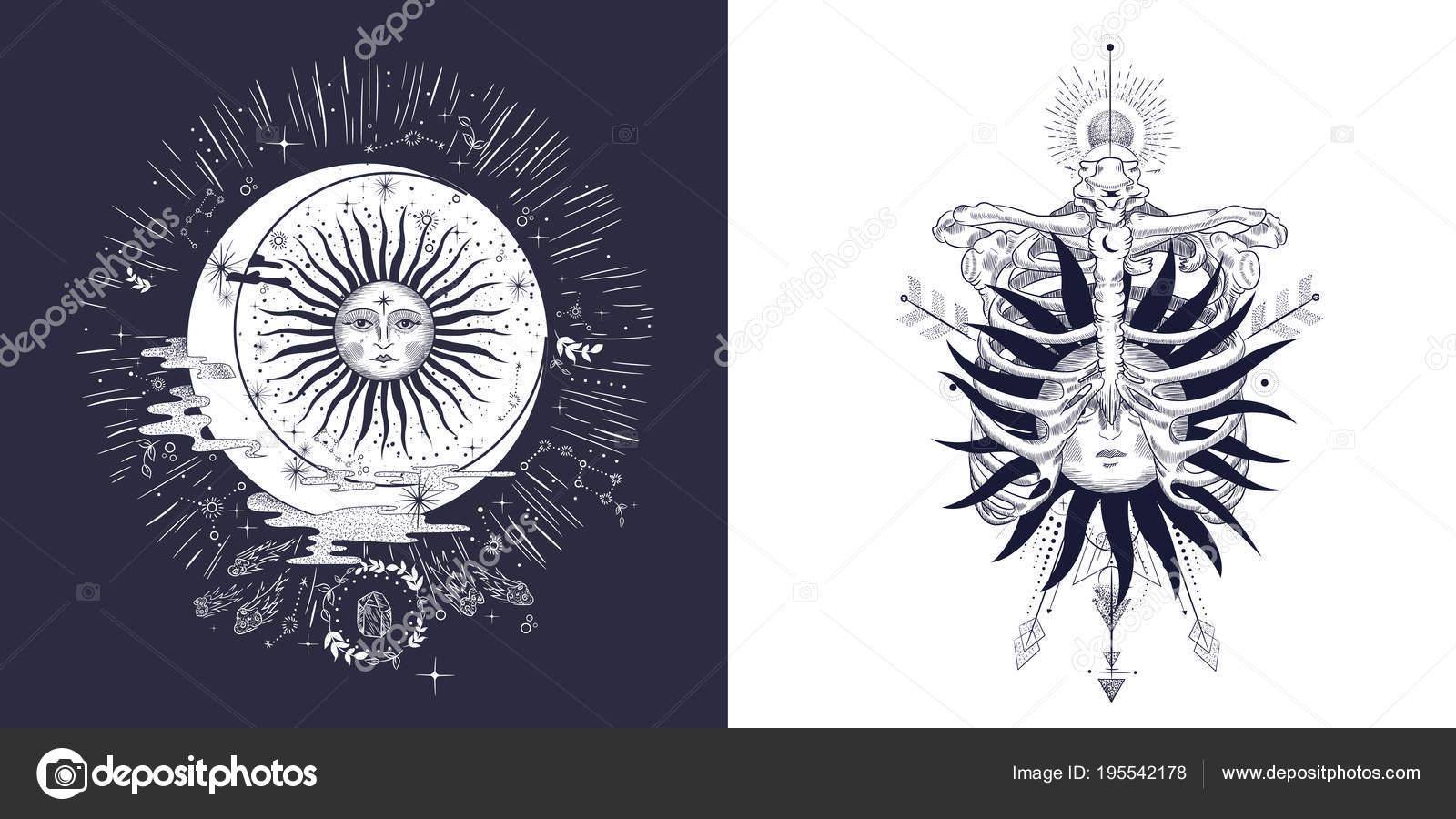Visage Soleil Lune Les Etoiles Tatouage Maconnique Conception Shirts