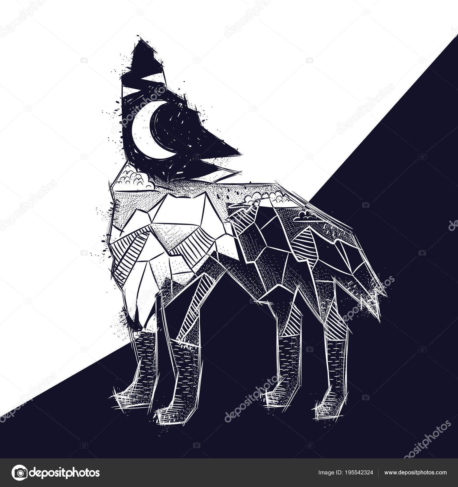 Płacz Wilk Krajobraz Góry Las Noc Księżyc Szkic Druku Shirt