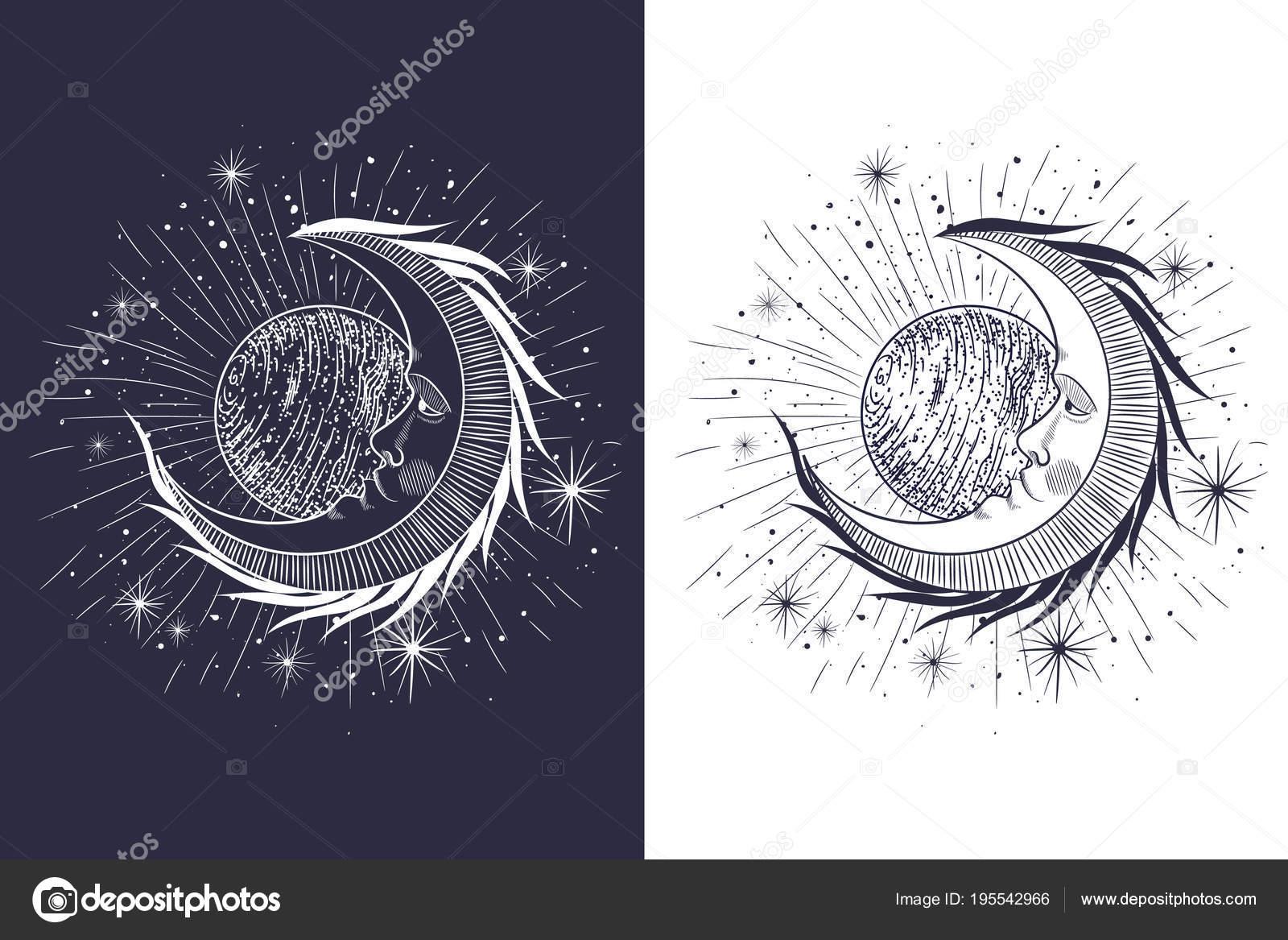 Das Gesicht Von Der Sonne Und Der Mond Die Sterne Stockvektor