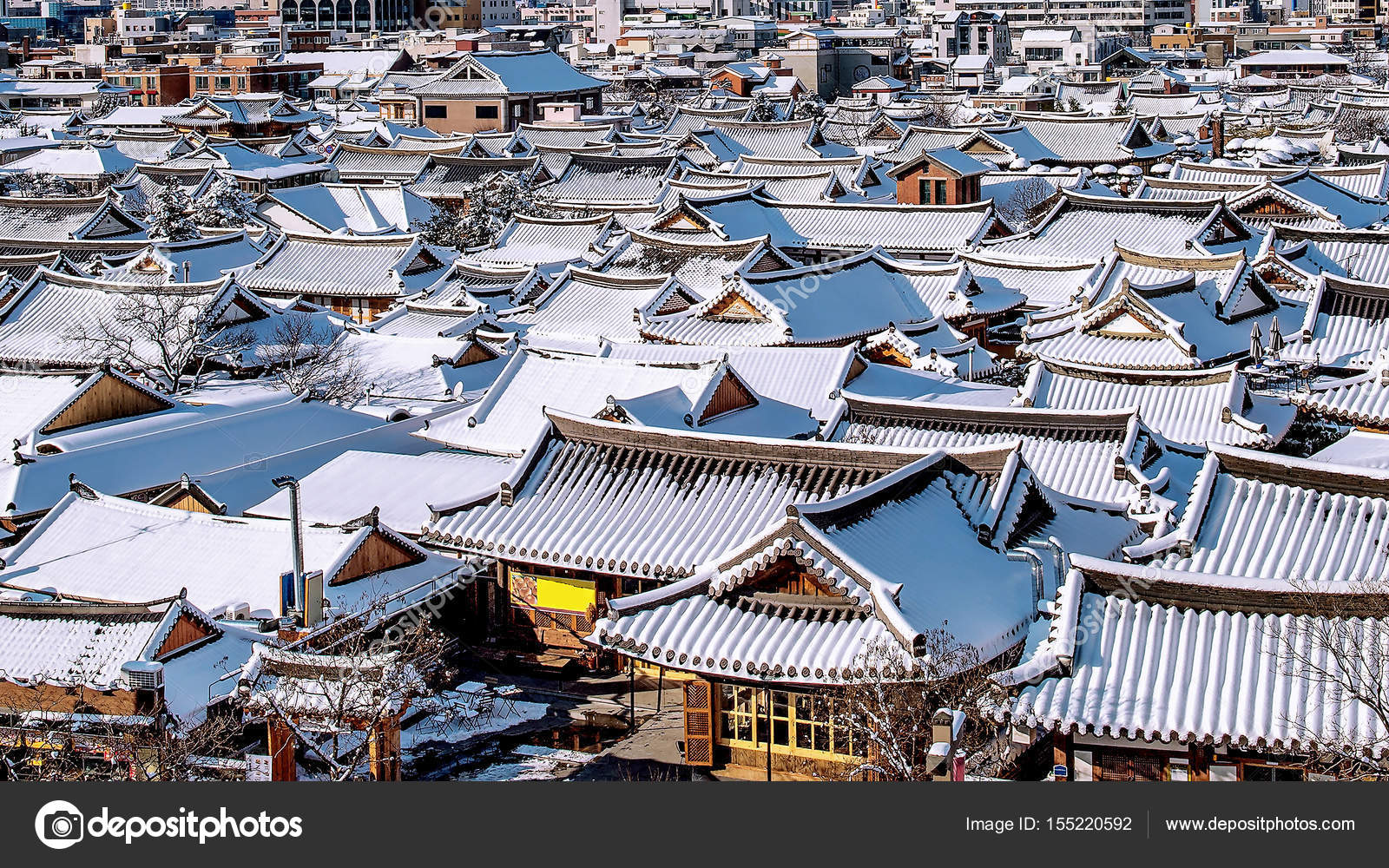 Roof Of Jeonju Traditional Korean Village Covered With