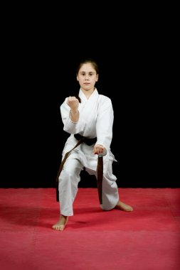 Girl training Karate martial Arts