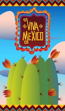 mexican holiday poster with cactus