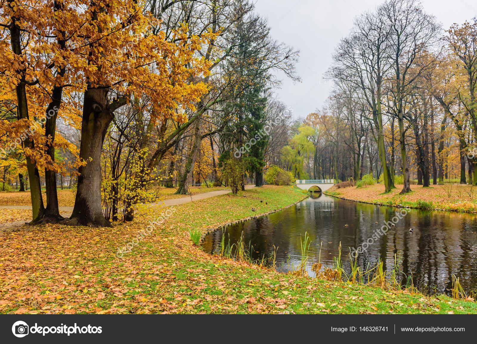 Beautiful Autumn Lazienki Krolewskie Park Stock Photo Randrey