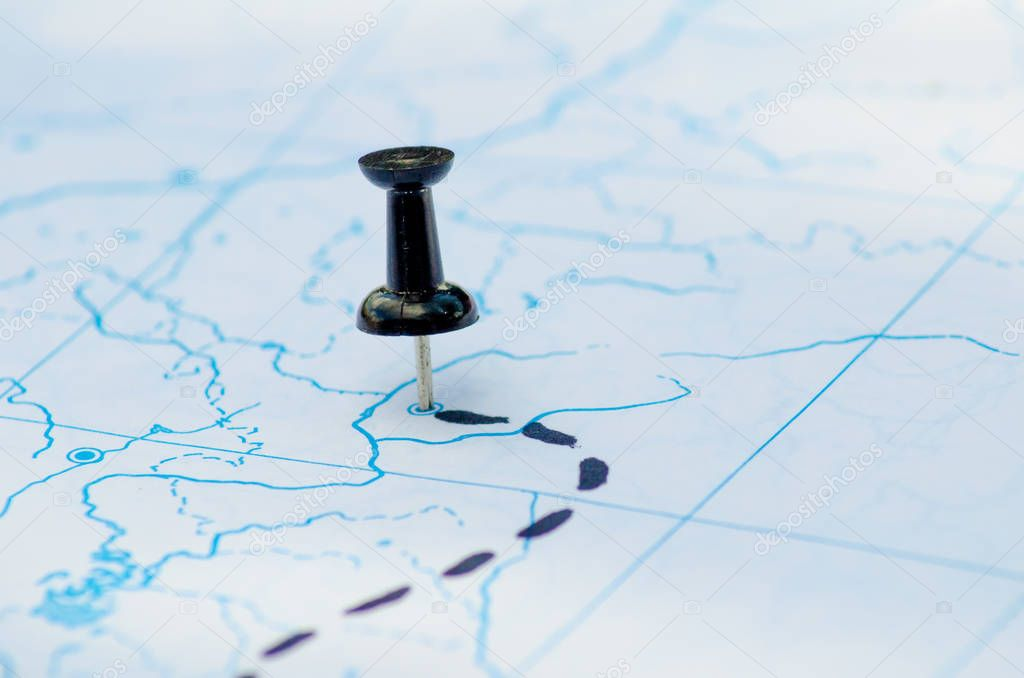 Pushpins map destination