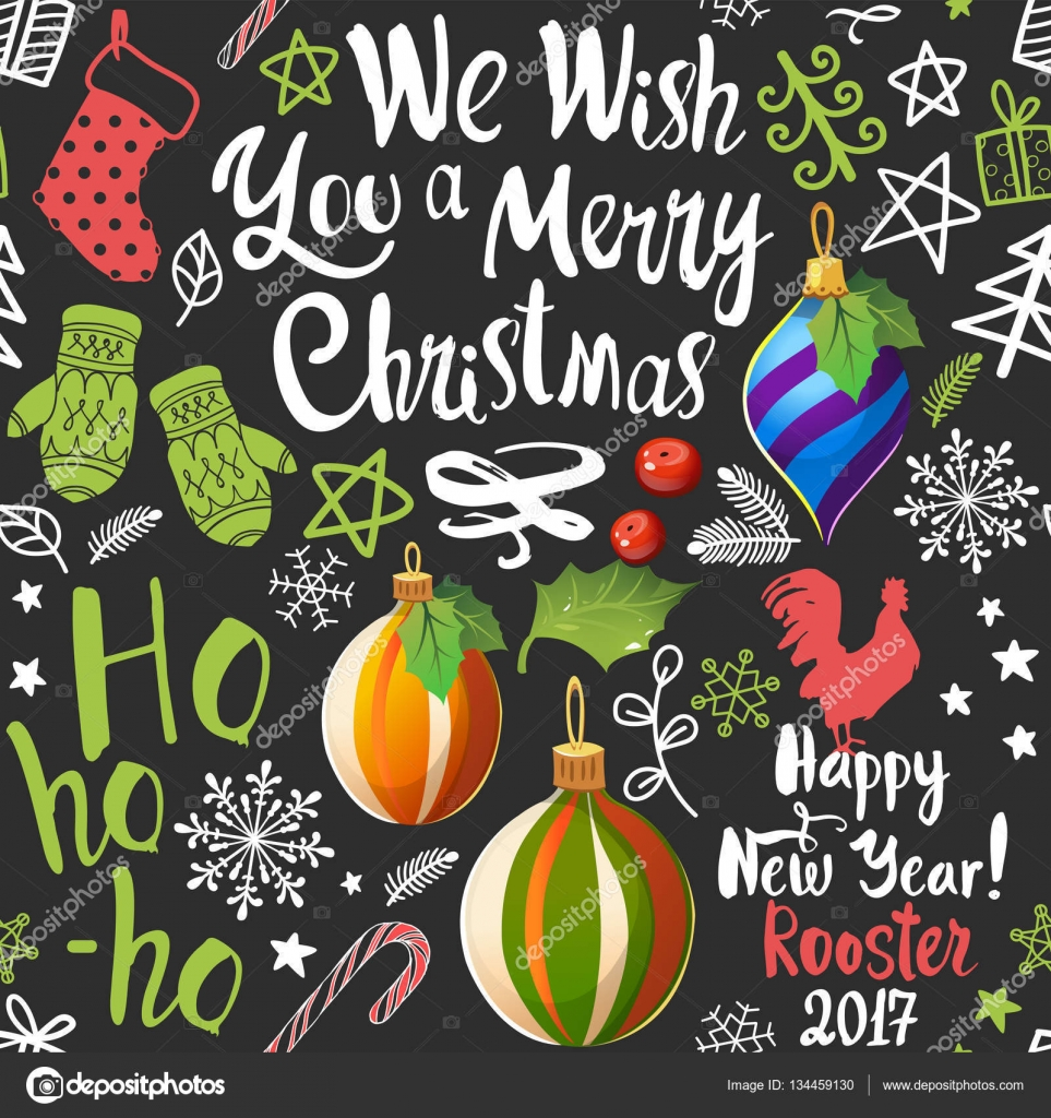 Seamless new year pattern on black background christmas vector christmas vector illustration set in sketch style beautiful funny symbols cock mistletoe pine branch and holiday lettering vector by monash buycottarizona Image collections