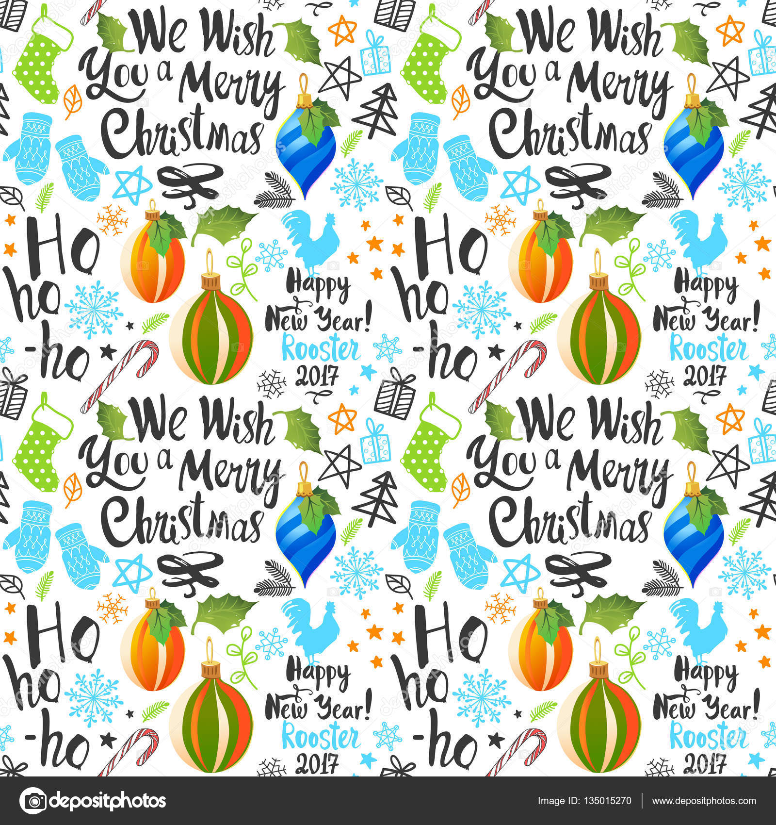 Seamless new year pattern on white background christmas vector christmas vector illustration set in sketch style beautiful funny symbols cock mistletoe pine branch and holiday lettering vector by monash buycottarizona Image collections