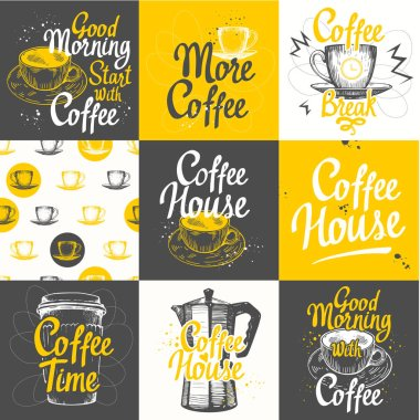 Set of coffee sketch with seamless background. Hot drinks menu. Vector Illustration: cup, maker and pattern. Brush calligraphy elements for your design. Handwritten ink lettering.