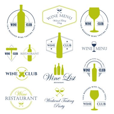 Vector Illustration with wine list logo and labels. Simple symbols glass, bottle for restaurant or winery. Traditions of drink. Decorative design elements. Black white style.