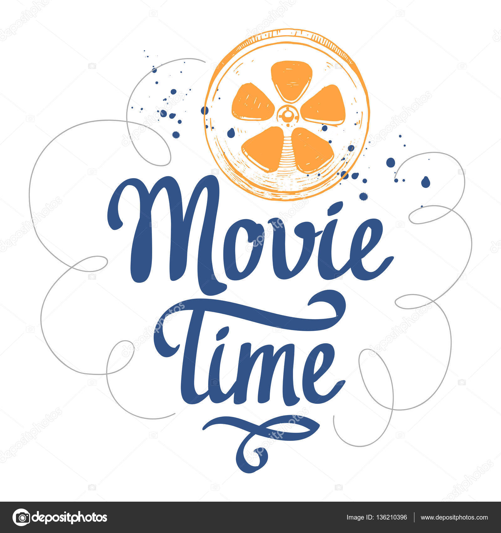Retro film  Movie time vector illustration with sketch and