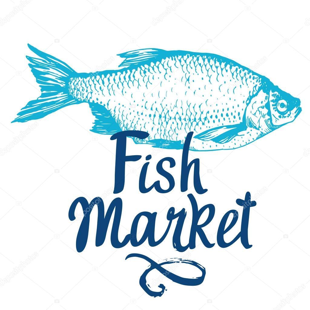Hand drawn vector illustration with rudd fish. Market. Seafood menu. Brush design elements. Handwritten ink lettering.