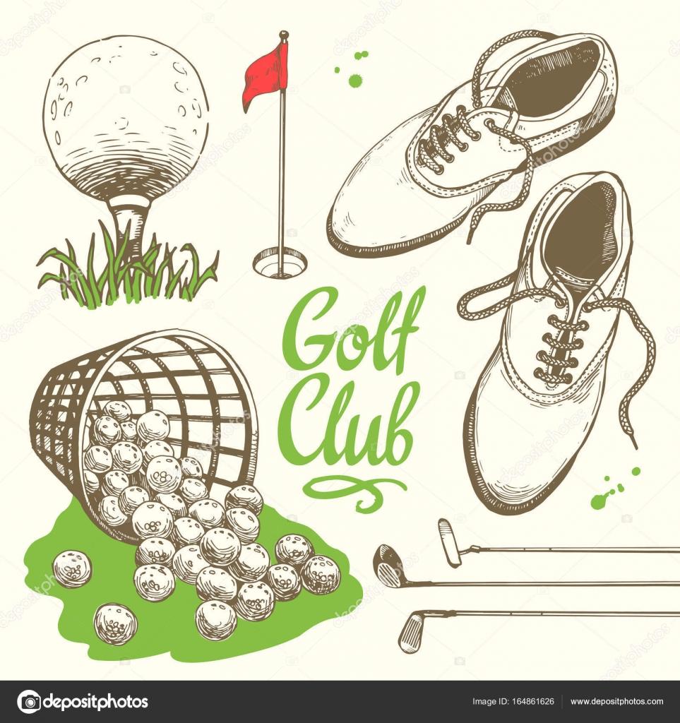 ゴルフは、バスケット、靴、パター、ボール、手袋、フラグ、バッグとセット。手描きのスポーツ用品のベクトルを設定します。白い背景の上のスケッチ風イラスト。 手書き