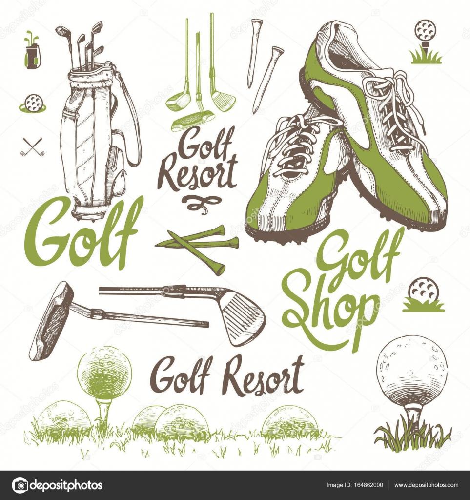 ゴルフ バスケット、靴、パター、ボール、手袋、バッグ入り。手描きのスポーツ用品のベクトルを設定します。白い背景の上のスケッチ風イラスト。手書きのインク