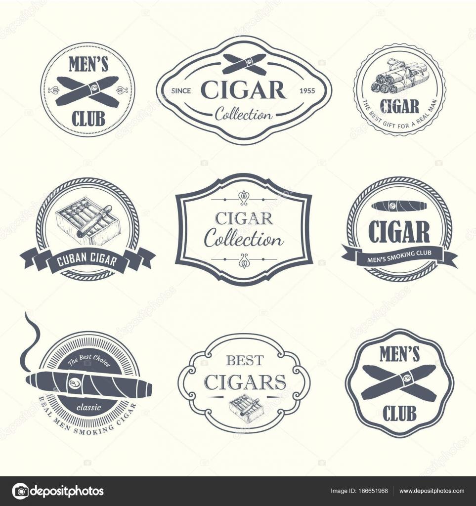 Vektor-Illustration mit Logo und Etiketten. Einfache Symbole Tabak ...