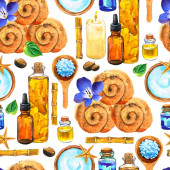 SPA watercolor seamless pattern. Illustrations with a variety of means for body and face: towel, oil, cream, leaf, massage cream, spoon with salt, bamboo. Cosmetics for woman. Relaxation in salon