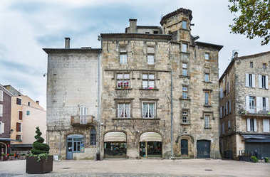 Historic buildings in the old town of Aubenas