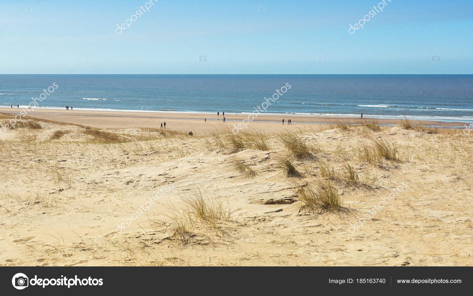 Het Noordzee Strand Tussen Ijmuiden En Bloemendaal In Nederland