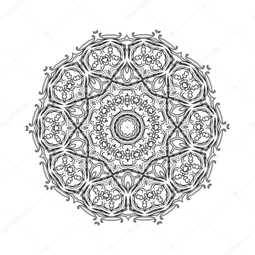 L ment blanc dessin abstrait noir mandala rond en - Modele de mandala ...